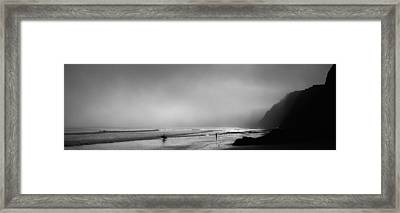 Surfers On The Beach, Point Reyes Framed Print by Panoramic Images