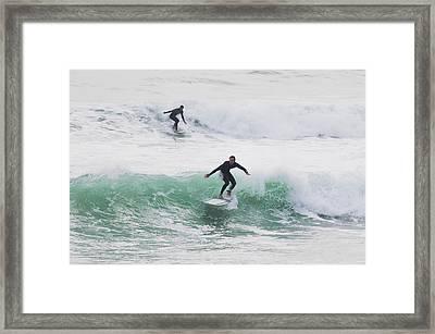 Surfers Riding Waves Tarifa, Costa De Framed Print