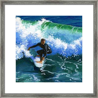 Surfin' Huntington Beach Pier Framed Print by Alice Leggett