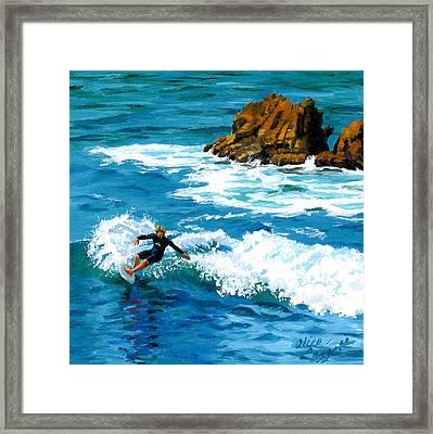 Surfin' Laguna Rocks Framed Print by Alice Leggett