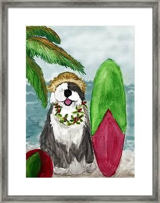 Surfin' Santa Framed Print