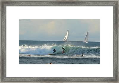 Surfing, Ala Moana, Bowls, Waikiki Framed Print by Douglas Peebles