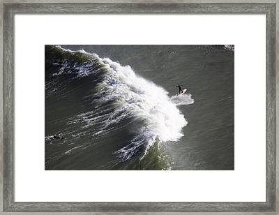 Surfing At Fort Point Viewed Framed Print by Panoramic Images