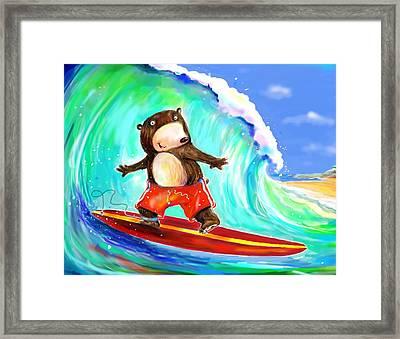 Surfing Bear Framed Print