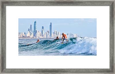 Surfing Burleigh Framed Print