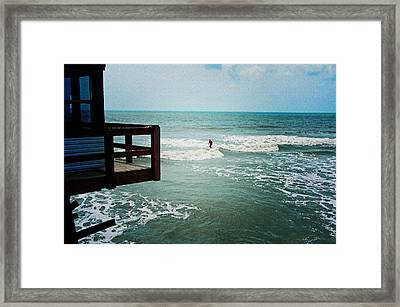Surfing By The Pier Framed Print by Laurie Perry