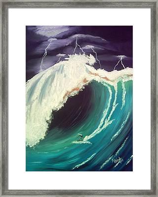 Surfing Dare Devil  Framed Print by Kathern Welsh
