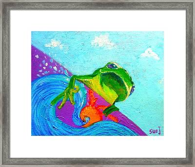 Surfing Froggie Framed Print