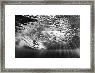 Surfing God Light Framed Print by Sean Davey