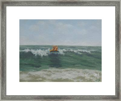 Surfing Golden Framed Print