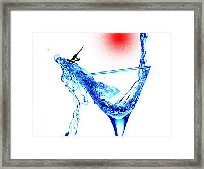 Surfing In A Cup Of Martini Little People On Food Framed Print by Paul Ge