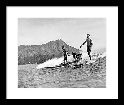 Surfing Framed Prints