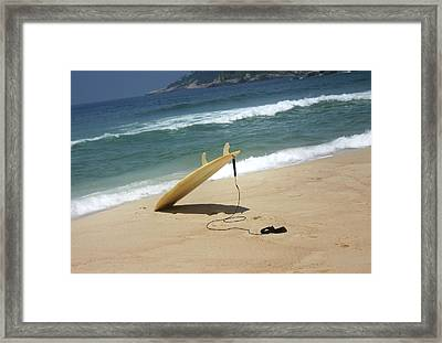 Surfing In Rio Framed Print by Frederico Borges