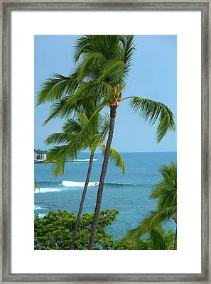 Surfing, Kailua-kona, Big Island, Hawaii Framed Print by Douglas Peebles