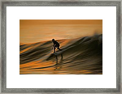 Surfing Liquid Copper C6j2144 Framed Print