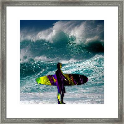 Surfing Framed Print by Marvin Blaine