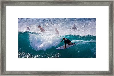 Surfing Maui Framed Print by Adam Romanowicz