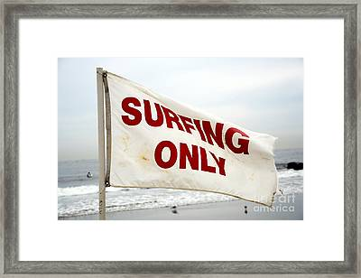 Surfing Only Framed Print by John Rizzuto