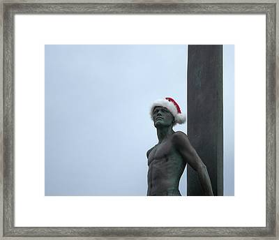 Surfing Santa Framed Print