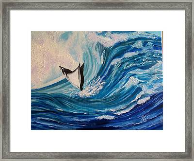 Surfing Stingray II Framed Print by Kathern Welsh