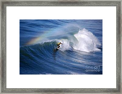 Surfing Under A Rainbow Framed Print by Catherine Sherman