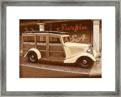 Surfing Usa Woodie Framed Print