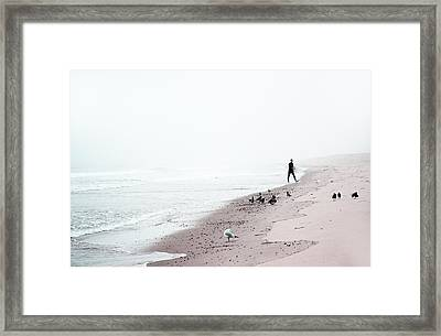 Surfing Where The Ocean Meets The Sky Framed Print