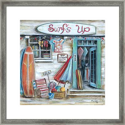 Surfs Up Beach Shop Framed Print