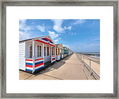 Surf's Up - Colorful Beach Huts Framed Print by Gill Billington