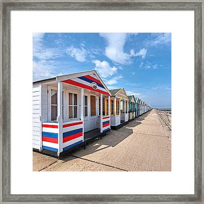 Surf's Up - Colorful Beach Huts - Square Framed Print by Gill Billington