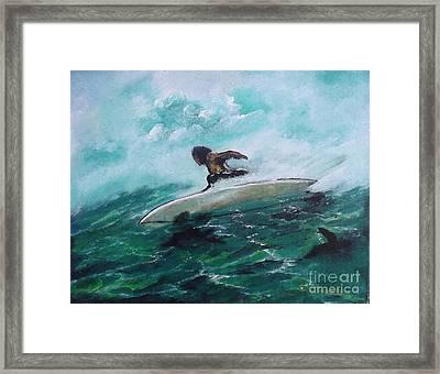 Surfs Up Framed Print by Donna Chaasadah