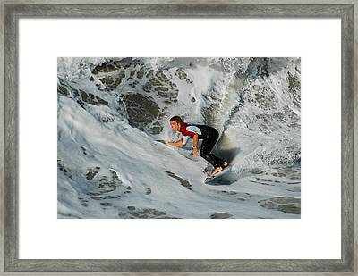Framed Print featuring the photograph Surfs Up by James Kirkikis
