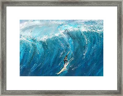 Surf's Up- Surfing Art Framed Print by Lourry Legarde