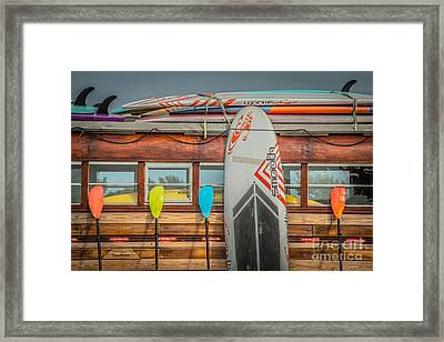 Surfs Up - Vintage Woodie Surf Bus - Florida Framed Print by Ian Monk