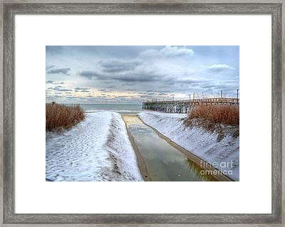Surfside Beach Pier Ice Storm Framed Print