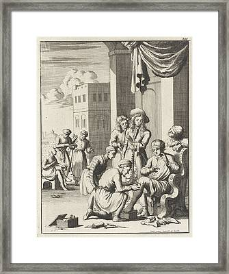 Surgery To Remove Worms From A Leg At Bender Abassi Framed Print by Jan Luyken