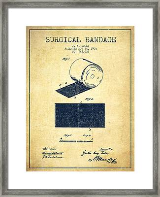 Surgical Bandage Patent From 1903- Vintage Framed Print by Aged Pixel