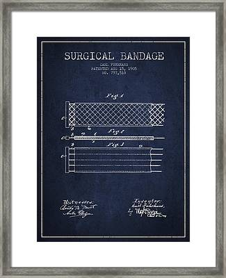 Surgical Bandage Patent From 1905- Navy Blue Framed Print