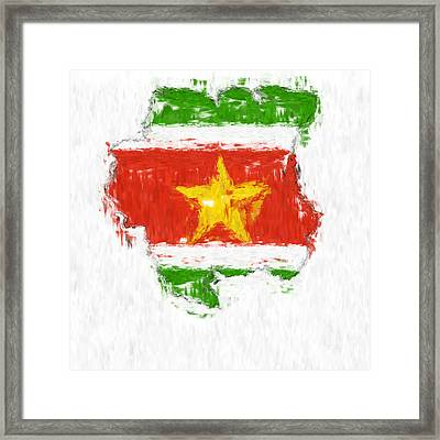 Suriname Painted Flag Map Framed Print by Antony McAulay