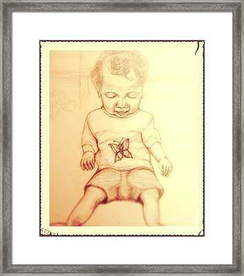 Framed Print featuring the drawing Surprised By A Swallowtail Butterfly by Kimberlee Baxter