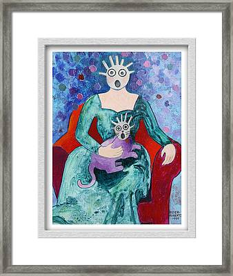 Surprised Woman With Frightened Cat Framed Print by Eve Riser Roberts