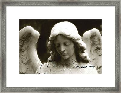 Angel Photography - Beautiful Angel Face With Inspirational Message Framed Print