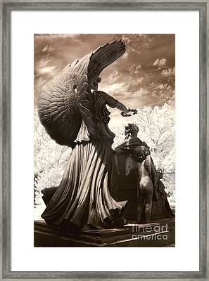 Surreal Angel Photography - Angels Infrared Nature - Columbia South Carolina Framed Print by Kathy Fornal