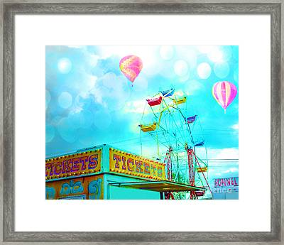 Surreal Aqua Teal Carnival Tickets Booth With Ferris Wheel And Hot Air Balloons - Carnival Fair Art Framed Print by Kathy Fornal