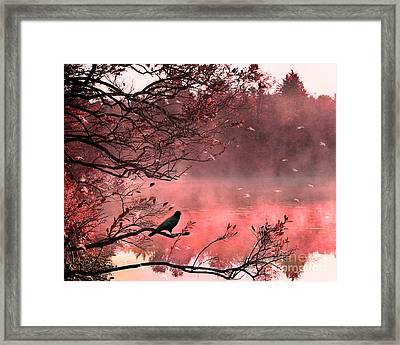 Surreal Autumn Fall Orange Nature Tree Landscape - Haunting Raven Autumn Fall Landscape Nature  Framed Print by Kathy Fornal