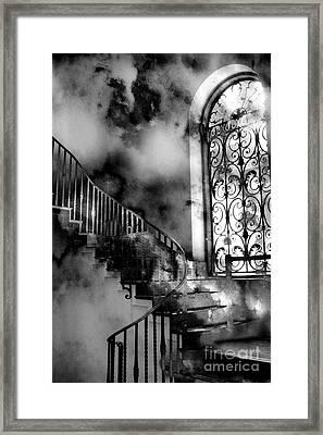 Surreal Black White Fantasy Staircase To Heaven Framed Print