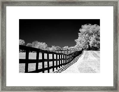 Surreal Black White Infrared Fence Landscape Framed Print by Kathy Fornal