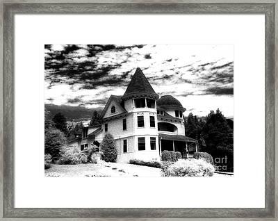 Surreal Black White Mackinac Island Michigan Infrared Victorian Home Framed Print