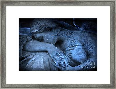 Surreal Blue Sad Mourning Weeping Angel Lost Love - Starry Blue Angel Weeping With Love Script Framed Print by Kathy Fornal