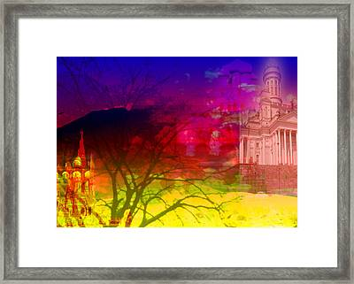 Framed Print featuring the digital art Surreal Buildings  by Cathy Anderson